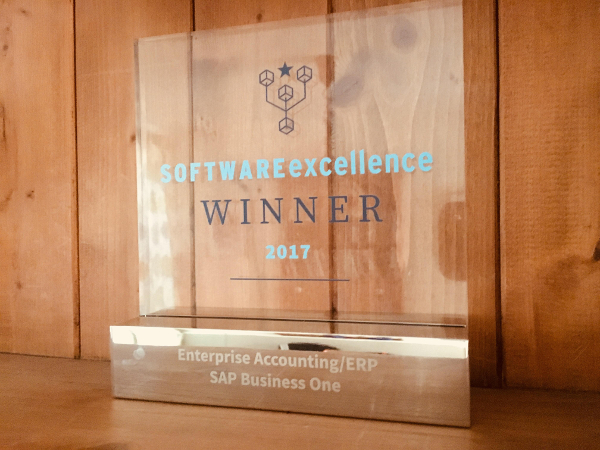 SAP Business One wins ERP category 2017 Software Excellence Awards